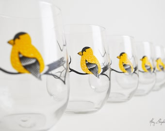 Golden Finch Stemless Wine Glasses - Set of 6 Stemless Finch Glasses - Finches, Yellow Finches, Golden Finches, Yellow Bird Glassware