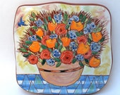 bluebird and big bouquet hand carved ceramic art tile