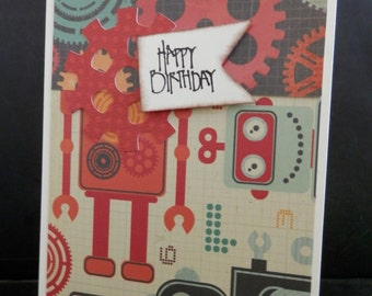 Greeting Card Happy Birthday Robot & Gears