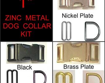 "1 SET - 1"" - ZINC METAL - Dog Collar Kit, 3 Pieces - Nickel or Brass Plate or Black"