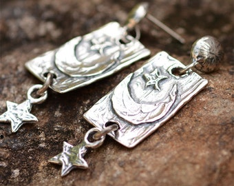 Artisan Moon and Star earrings with Awesome Designer Post in Sterling Silver