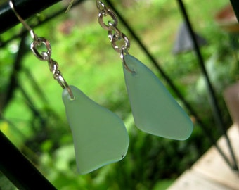 Antique Aqua Mason jar glass earrings, tumbled like seaglass TrAsH gLaSs earrings