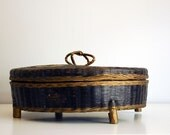 Antique Chinese Sewing Basket Woven Wicker Bamboo Container Hand Painted Footed Basket Yellow Flowers Crown Handle Asian Collectibles