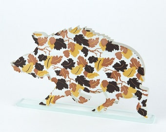 Autumn Leaves Wild Boar Enamel Print Glass Sculpture