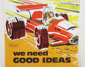 Vintage Poster Sears Work Workplace Motivational Get Moving Suggest Now Race Car