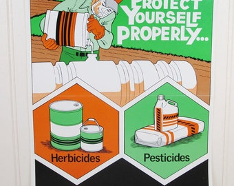 Vintage Work Safety Poster Workplace Ohio Protect Yourself Properly Chemicals Pesticides