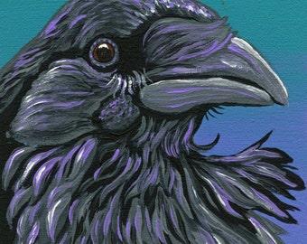 OOAK Original Canvas Magnet Crow Raven Bird Wildlife Art-Carla Smale