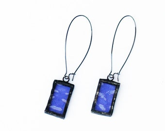 EARRINGS - Stained Glass Earrings, Kidney Wire Earrings, Purple Earrings