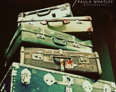suitcase photo, suitcase stack print, vintage decor, suitcase print, suitcase photo, vintage look art, vintage style art, luggage art