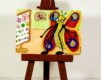 """ACEO """" The New Spectacles! """" Original on Heavy Art Paper"""