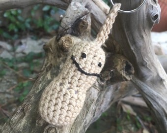 Crocheted Peanut People Key Chain - Zipper Pull