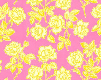 FAT QUARTER ONLY - Yellow Rose Cotton Fabric - Heather Bailey Pop Garden Wallpaper Roses hb06-rose (fq010)