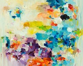 Larger abstract art print on canvas 30x40 inches- Floating Clouds- art print- wall decor