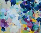 Larger canvas print 30x30 inches- Blue Lyrics- fine art print- wall decor - abstract painting