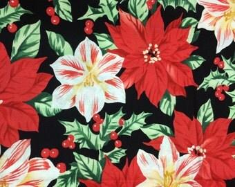 Christmas poinsettia fabric - 1 yard - vintage look