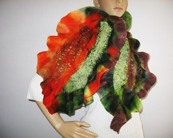 FELTED SCARF  Wool  Ruffle Green Brown  Rust Leaf Felt Neckwarmer Halloween nack scarf
