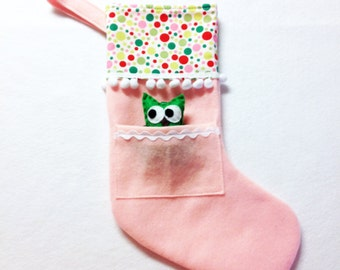 Felt Holiday Stocking - Pocket Peeper Owl -  Gingerbread - Polka Dots