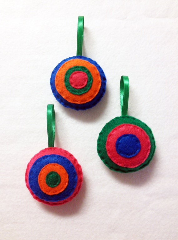 Christmas Ornament, Jewel Tones, Felt Ornament, Accent, Stocking Stuffers, Blue, Orange, Hot Pink