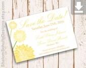 Save the Date, Card, Map, Info, RSVP, Flower, Dahlia, Garden, Bloom, Blossom, Custom, Printable, Digital File, Yellow, Lemon, Dark, Green