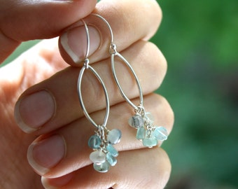 Blue Apatite Earrings . Blue Gemstone Earrings . Marquise Earrings . Chandelier Earrings Silver - Acai Palm Collection