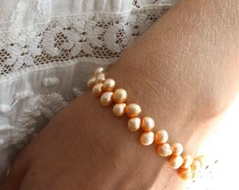 Peach Bridesmaid Jewelry . Peach Pearl Bracelet . Bridesmaid Gifts Jewelry . Freshwater Pearl Bracelet - Hargrove Collection
