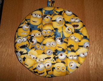 Yellow Minions, Hot Pad, Hot Pads, Pot Holder, Pot Holders, Potholder, Potholders, Handmade, Quilted, Cotton, Insulated, Trivet, 9 Inches