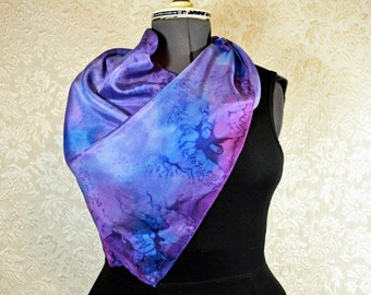 Hand painted silk scarf, square, in blue and purple