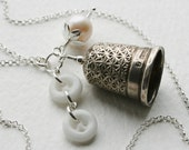 Silver Thimble Charm Necklace Pearl and Glass Button 1902 Antique