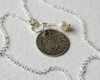 Victorian 3 Pence Sterling Silver Charm Necklace 1899 Genuine Coin