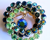 SALE 50% Signed Weiss Green Brooch, Rhinestone Multi 3 Dimensional Circle Brooch, Multi Shades of Green, Vintage Signed Weiss