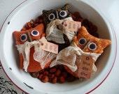 Primitive Owl bowl filler tuck ornies Halloween Fall decoration