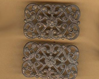 vintage brass stampings, goth look, TWO findings, antique brass findings old old brass