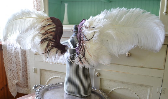 Feather Wings Costume Faerie Angel White Ostrich Wings Made To
