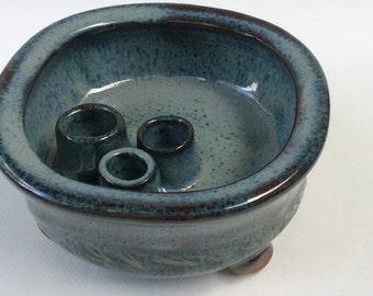 IKEBANI flower vase, tray, flower dish, stoneware, ceramic, blue pottery, handmade, ready to ship  B32
