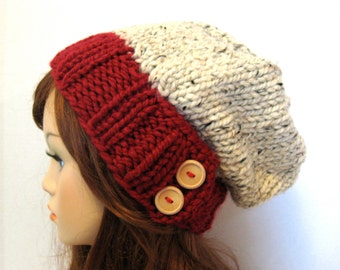 Slouchy Chunky Knit Hat  - Cranberry and Oatmeal