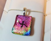 Water Polo Necklace Pendant - Dichroic Fused Glass Necklace Pendant - Hot Pink Mix - Free Shipping
