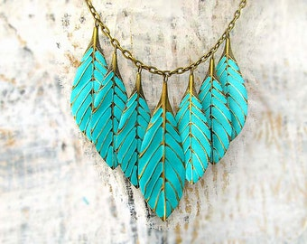 Turquoise statement necklace , Leaf necklace , Feather necklace boho chic jewelry