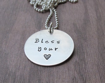 Bless Your Heart Hand Stamped Necklace Sterling Silver Ready to ship