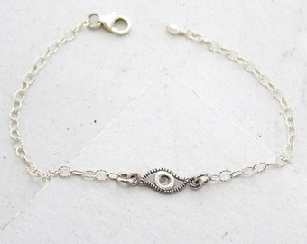 Evil Eye Bracelet | Delicate Layering Bracelet | Yoga Jewelry | Stacking Bracelet | Everyday Jewelry | Sterling Silver