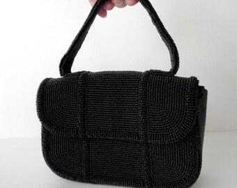 1960s Beaded Black Evening Purse Small Handbag