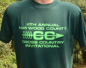 vintage 80s t-shirt HAYWOOD cross country road race running track tee Large green neon soft