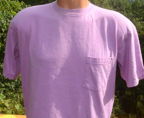 Vintage 80s pocket t shirt gap plain blank lavender pastel for Gap usa t shirt