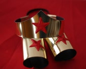 Child size Classic Wonder Woman Tiara and Cuff Bracers Accessory Set in Gold Kids Girls Costume Adjustable Custom Fit