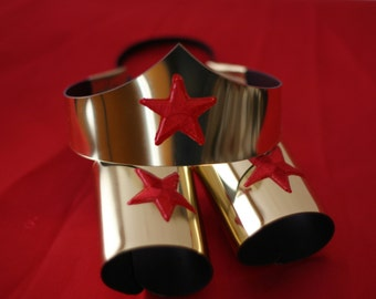 Child size Classic Wonder Woman Tiara and Cuff Bracers Accessory Set in Gold Kids Girls Costume