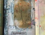 Altered handmade notebook with hand colored paper and image transfer, happiness