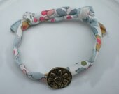Handmade Genuine Liberty Print  Fabric Adjustable Bracelet with Pure Bronze Flower Button