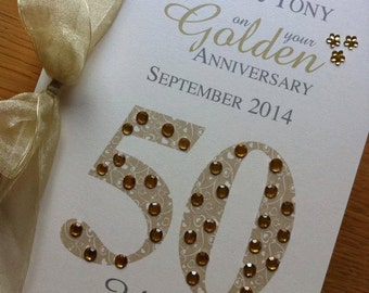 Golden/Silver/Platinum Wedding Anniversary Card - Personalised with Names and Date
