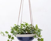 Navy Indigo Large Hanging Planter in White Porcelain and Suede // Modern Home Decor for Your House Plant Collection