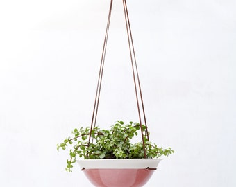 Raspberry Pink Medium Planter in White Porcelain and Suede // Modern Home Decor for Your House Plant Collection