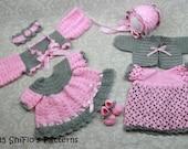 CROCHET PATTERN Sunbeam Delight Baby Dresses x 2 , Shrug, Cardigan, Bonnet, Headband, Shoes PDF 25 Digital Download